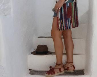SALE Boho Messenger Fabric Bag with Tassel. Crossbody Purse. Shoulder Bag. Unique Gift for Her. Kourelou Upcycled Bag.  Multicolor Bag