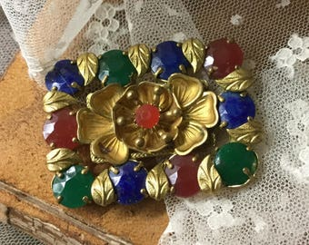 Stunning Art Deco Signed Made in Czechoslovakia Opaque Rhinestone Brass Gold Tone Flower Brooch Pin 1930's 1940's Large Rectangular Floral