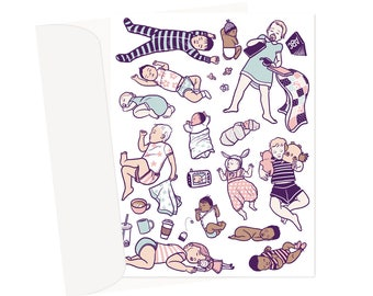 Sleepy Babes - Blank Card - A2 with envelope