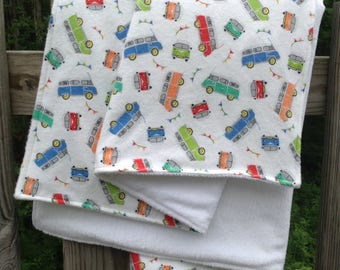 "Baby Blanket White Minky with VW mini bus Print Cotton Flannel, Bright 28"" x 36"", ready to ship"
