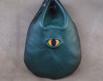 Taller Green leather fiery green Dragon eye runes coin dice pouch bag  Fantasy Medieval
