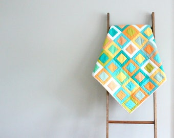 Custom Baby Boy or Girl Quilt, Baby Blanket, Crib Quilt, Stroller Blanket - Colorful Windowpane Desig