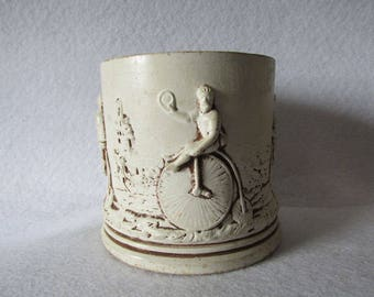 Antique Redware Vase, Jar with High Wheel Bicycle Motif,  Penny-Farthing