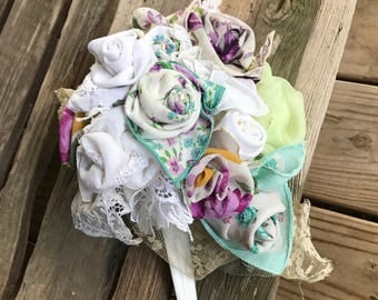 Bridal Bouquet - Crochet Fabric Flowers - Cascade with Trailing Ribbons  - Ecru Violet Green Lavender - Vintage Retro - hyperallergenic