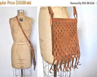 SALE 1970s Leather Purse / Brown Woven Bag / boho festival