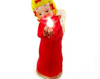 Blinking Angel Vintage 1950s with Box Dan Dee Imports Collectiible Mid Century Christmas Decor Lights Up