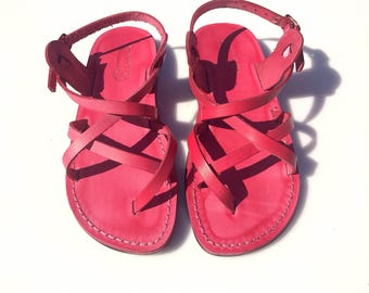 CLEARANCE SALE - PINK Triple Leather Sandals - All Leather Sole  - Euro # 39 - Handmade Unisex Sandals, Genuine Leather, Sale