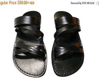 15% OFF Black Swing Leather Sandals For Men & Women - Handmade Unisex Sandals, Flip Flop Sandals, Jesus Sandals, Genuine Leather Sandals