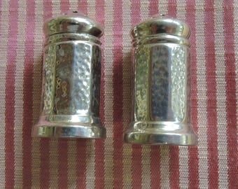 Vintage Nickel Silver Salt And Pepper Shakers, Individual Salt And Peppers
