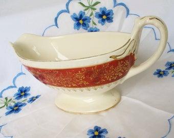 Georgian Gravy Boat Bowl Vintage Red Gold China Serving Pitcher Cottage Decor Bridal Shower DIY Garden Wedding Vase