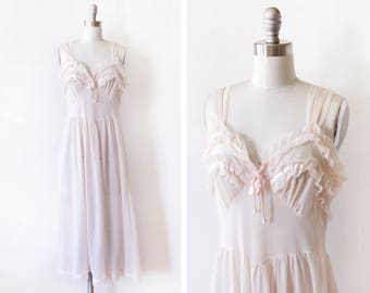 pale pink nightgown, vintage 60 negligee, nylon chiffon ruffled 1960s peignoir lingerie, small s
