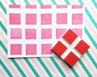 square brick stamp. pattern hand carved rubber stamp. diy background paper and gift wraps. handmade stamps by talktothesun