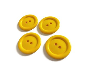 Dark yellow plastic sewing buttons - set of 4 vintage craft buttons 29mm