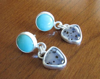 Turquoise and Montana Agate Earrings in Sterling Silver