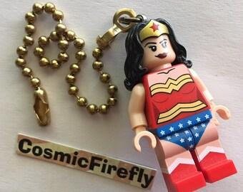 Lego Wonder Woman Fan Pull Chain Lego Superhero Fan Pull Lego Mini Fig Toy Girl's Room Decor Toy Lego Mini Figure