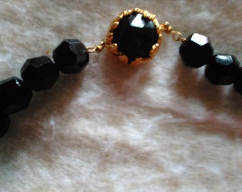 Vintage Black Beads Chocker Necklace Black Faceted Beads Fancy Gold Tone Closure Strung on Chain May be Glass ?