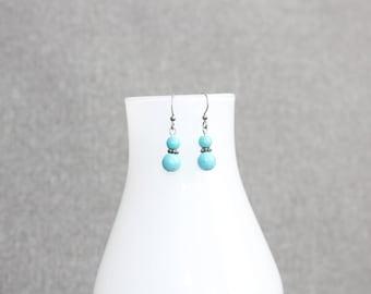 Boucles d'oreilles, bijoux québécois, bijou femme, turquoise, pierre semi précieuse, argent, bijou argent, métal, pierres fines, cadeau elle