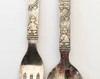 SILVER Child's Fork and Spoon with DENMARK Hallmark   1920's - 1940's