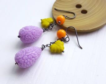 september garden - earrings - carved resin, vintage beads, sterling silver - purple, orange, wasabi