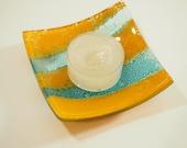 Aqua and Mustard Yellow Fused Glass Trinket Dish - Jewellery Dish - Tea Light Holder - Ring Holder Dish - Glass Votive Holder - ED 655