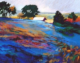 Hillside Landscape Print, Farm Barns, Blue Hillside, Contemporary Pastel Painting, Hillside Landscape, Modern colors, Home Wall Art, 8 x 10