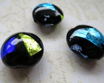 Venetian glass beads black glass with colored foil lentil shaped