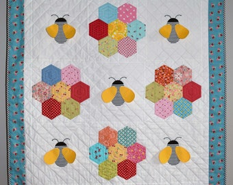 Queen Bee Quilt Modern Black Lattice Designgift For Wedding