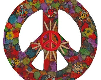 Peace Sign Mosaic Wall Hanging Made with Alcohol Ink and Tempered Glass