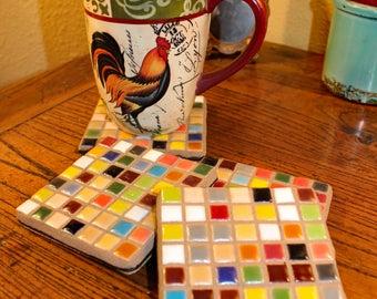 Ceramic Tile Mosaic Coaster Set of 4  Candle Base or Trivets