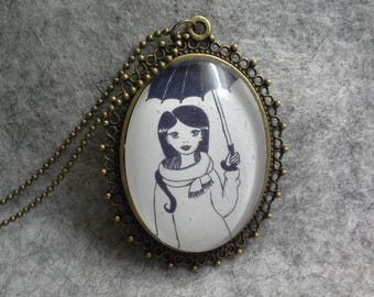 Necklace Pendant Glass Cabochon from Original Drawing My Umbrella Girl in the Rain