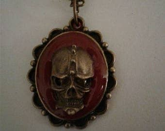 Skull Pendant Necklace Antique Bronze