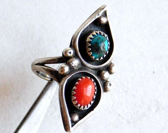 Vintage Navajo Sterling Silver, Turquoise and Coral Ring - Size 6.25 - Native American Silver Jewelry - Older, Unmarked - Teardrop Setting