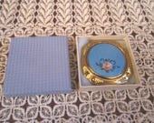 Vintage 1940s/50s Blue and Pink Goldtone Guilloche Enamel Compact Mint in Box