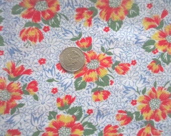 Vintage 1930s/40s Full Cotton Feedsack Feed Sack-Red Yellow Floral