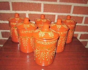 Vintage Beautiful Mexican Tlaquepaque Pottery 6 Piece Canister Set