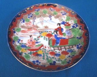 Antique Japanese Meiji Period Beautiful Hand Painted Signed Scenic Plate