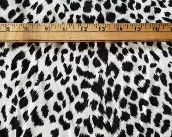 Cotton velveteen Black White Animal Leopard Print just over 2yd