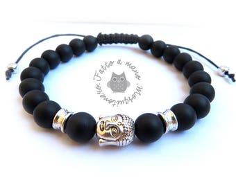 Black agate bracelet opaque macrame knots, Buddha, Buddhism, mala, bracelet,