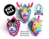 3-in-1 CROCHET PATTERN, DIY, Faux Unicorn, Zebra & Color Block Deer Head, Crochet Taxidermy, Amigurumi Crochet Pattern by Manafka Mina