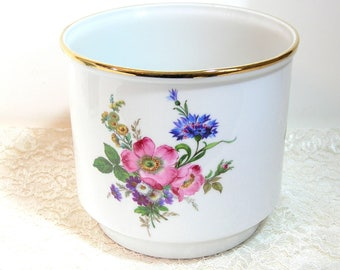 Large Floral Cache Pot, Flower Pot, Gerold Porzellon, Made in West Germany