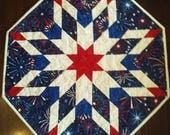 Table Top Quilt Red White Blue Fireworks Quiltsy