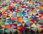 Queen Quilt Handmade Wheel of Mystery Rainbow Colors Quiltsy