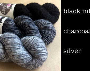 Hand-dyed Merino Sport Yarn - black, charcoal, or silver - Full Skein 328yds 100g