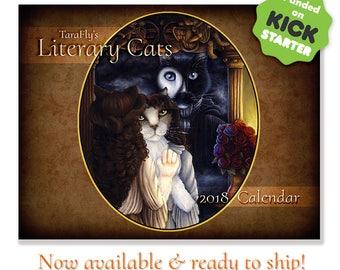 2018 Literary Cats Calendar, Limited Edition Cat Art Wall Calendar