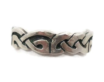 Celtic Knot Ring, Sterling Silver, Celtic Band, Vintage Ring, Irish Jewelry, 925, Size 11 1/2, Irish Wedding Band, Unisex, Mans Mens