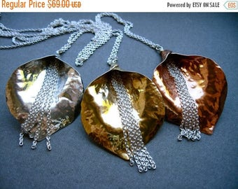 End of Summer SALE Waterfall Lily Pendant Necklace in Copper - N053 or Bronze - N054
