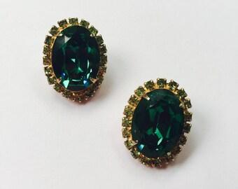 Vintage Signed Kramer of New York Rhinestone Earrings  - Clip Ons