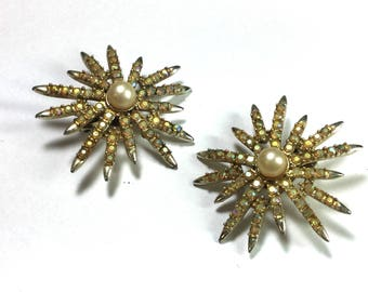 Vintage Emmons Clip On Earrings with Faux Pearls and Aurora Borealis Stones