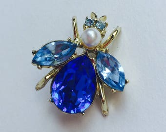 Vintage Bug Pin with Pearl and Rhinestones