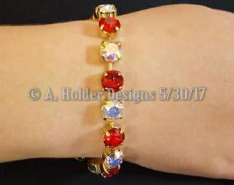 Crystal Bracelet - Light Siam and Crystal AB Swarovski Chatons - 8 mm stone size